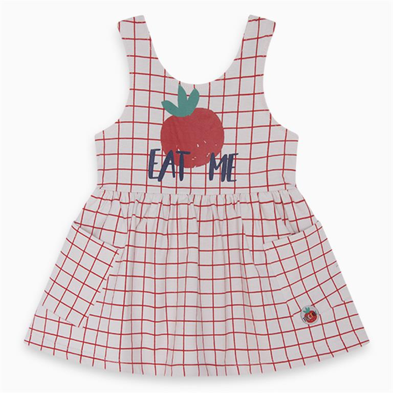 Red Checked 'EAT ME' Cotton Dress