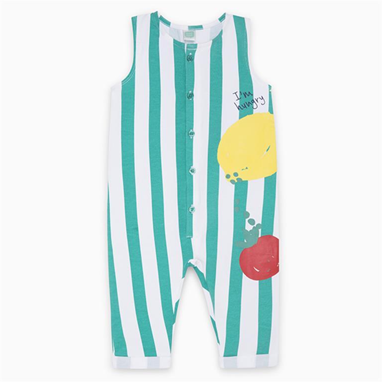 Striped Green Fruit Cotton Jumpsuit
