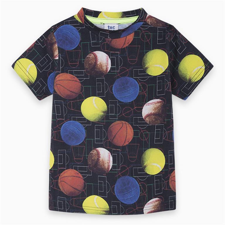 Black Multi Balls Cotton T-Shirt