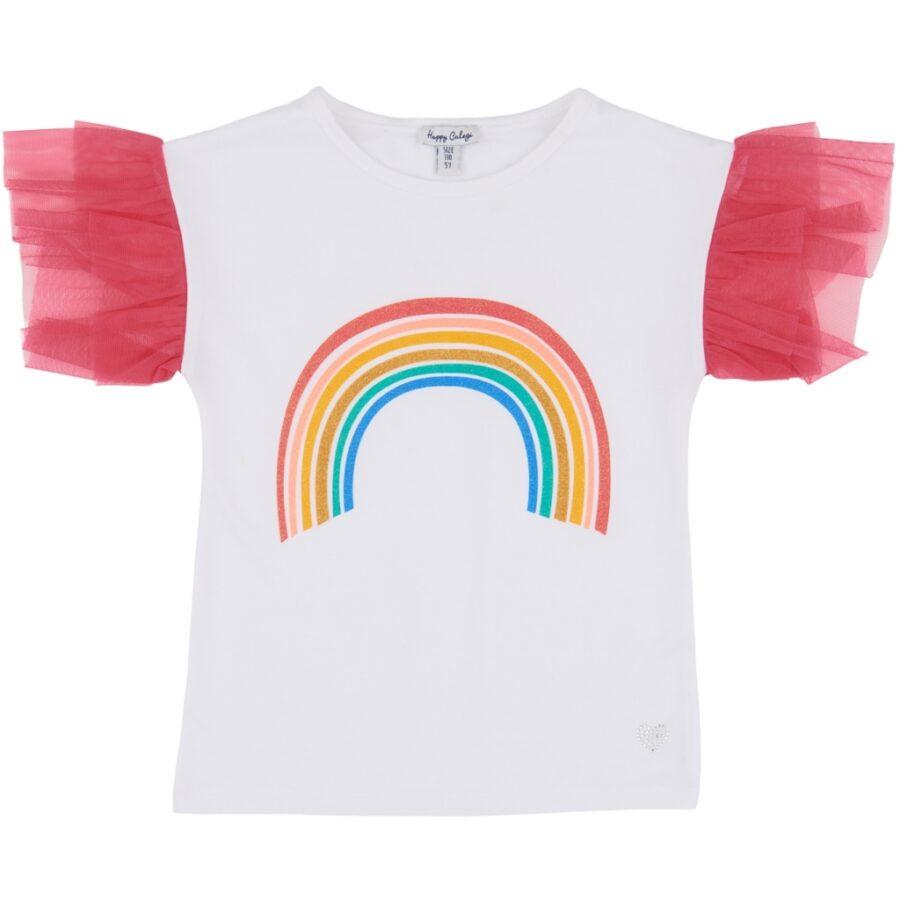 Rainbow Motif Tulle Sleeves Top