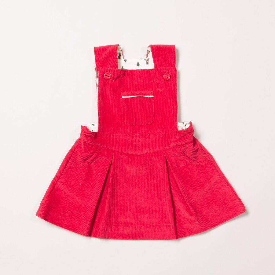Woodland Adventure Raspberry Pinafore Dress