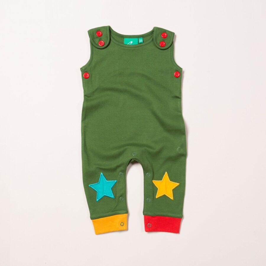 Woodland Green Star Dungarees