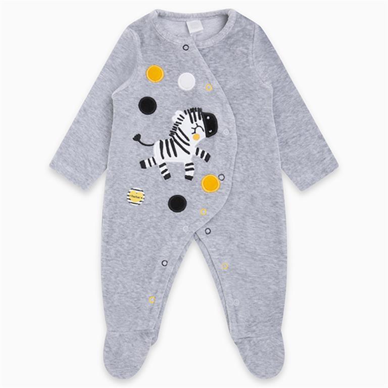 White Velvet Fun Zebra Stripes and Dots Romper