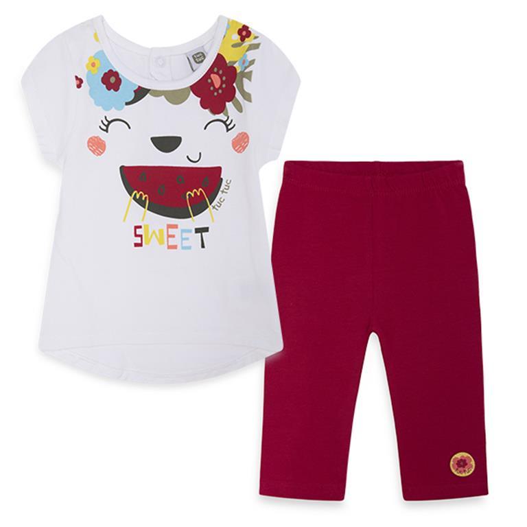Cotton Set – White Patterned T-shirt and Red Capri Leggings