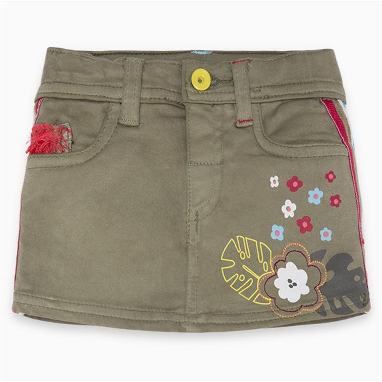 Floral Denim khaki Skirt