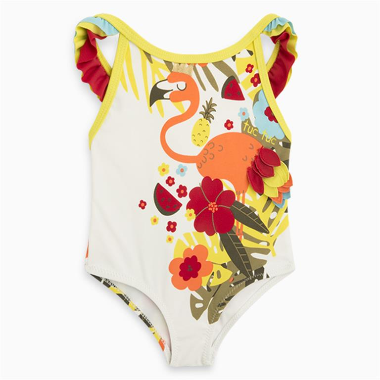 Tropical Swimsuit with frill straps