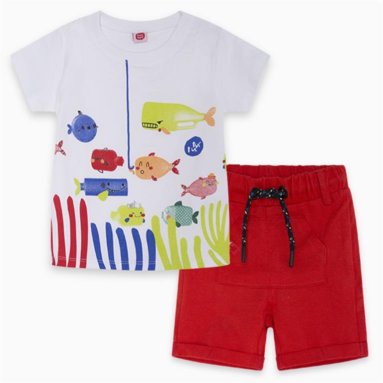 White | Red Fishing Cotton T-Shirt and Bermudas
