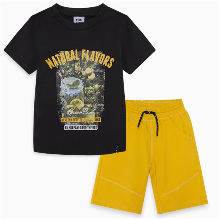 Black and Yellow Fruit Cotton T-Shirt And Bermudas