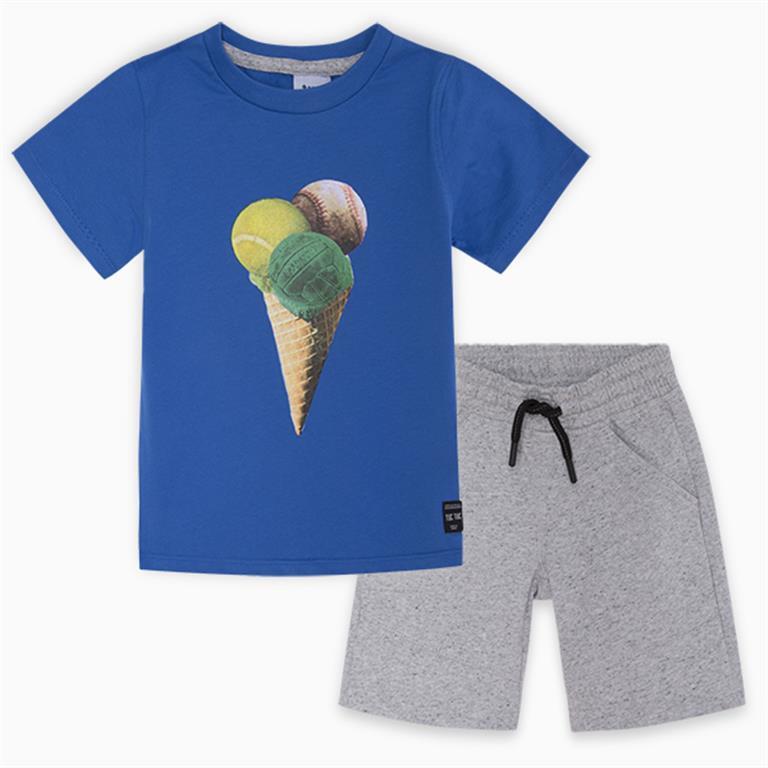 Blue | Grey Ice-Cream Cotton T-Shirt and Bermudas