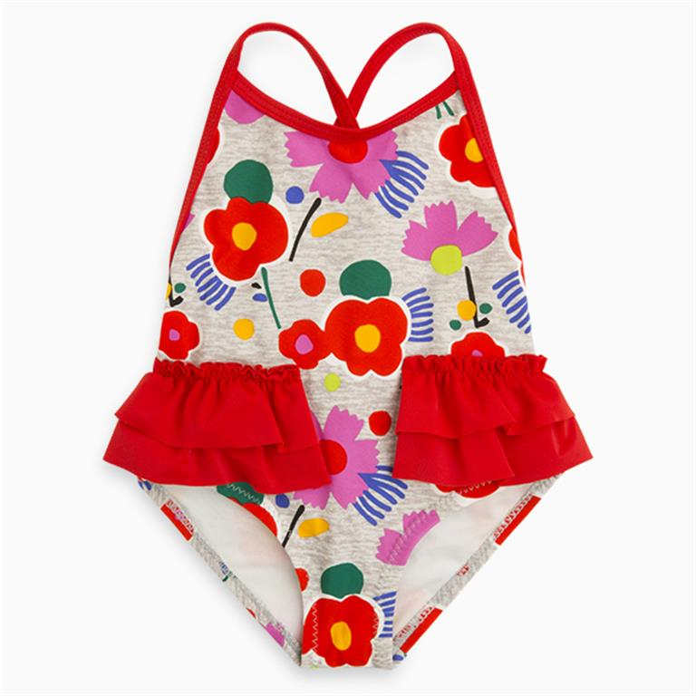 Red Frill Floral Swimsuit