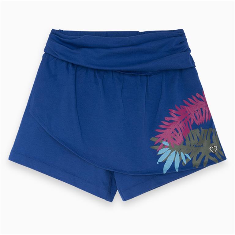 Blue Cotton Shorts with Motif