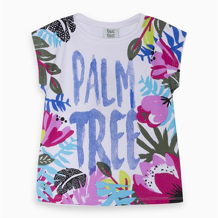 Palm Motif Cotton T-Shirt