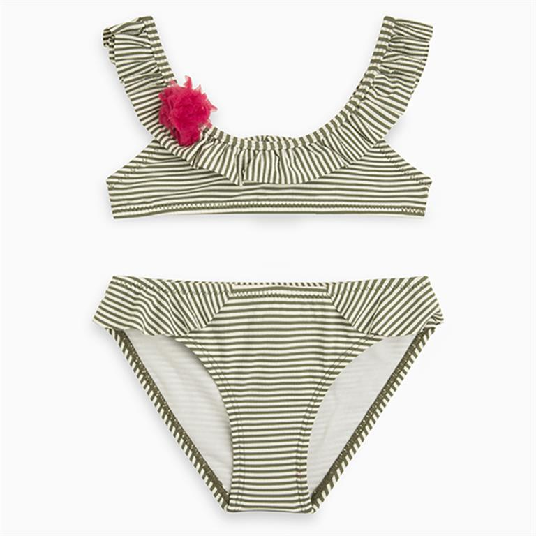 Green/White Stripes and Frills Bikini