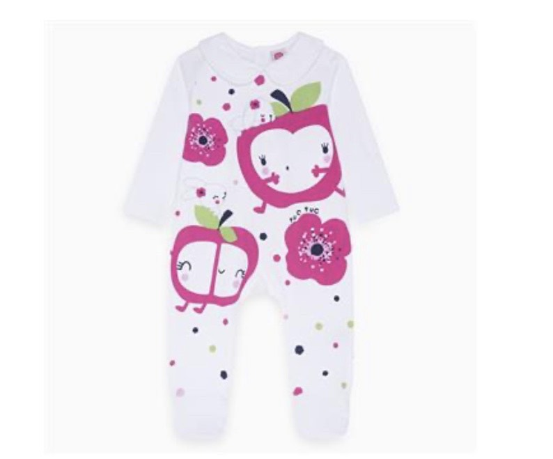 Apple and Flowers Long Sleeve Cotton Romper