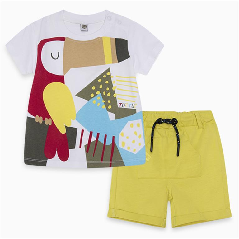 Toucan Cotton T-Shirt and Yellow Shorts