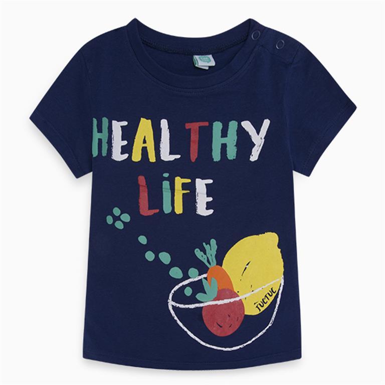 Navy Blue Fruit Motif T-shirt