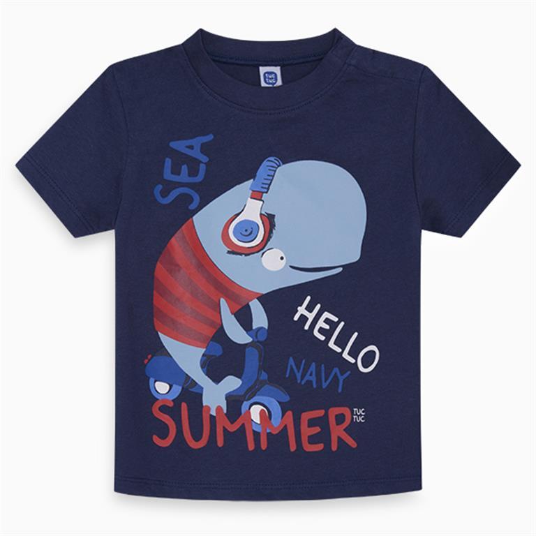 Navy Blue Whale Cotton T-Shirt