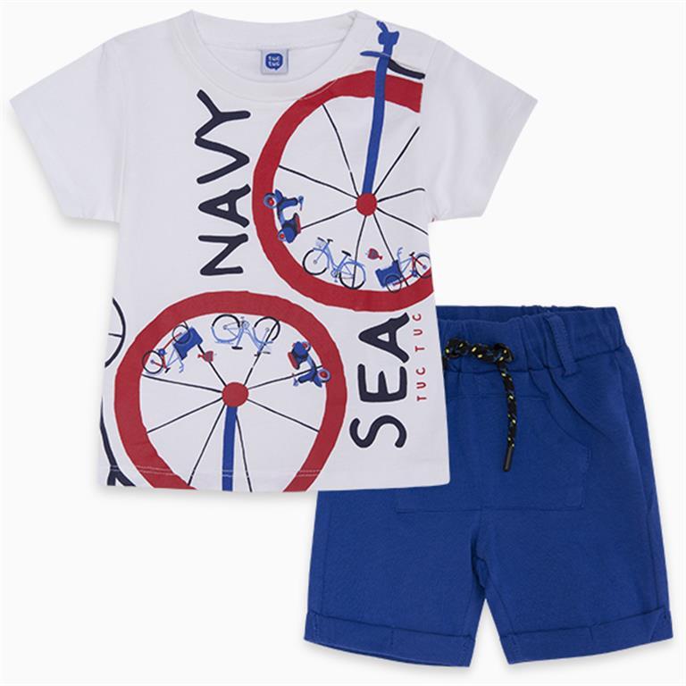 White | Blue SEA Cotton T-Shirt and Bermudas